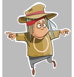 cartoon funny man in the hat fun vector image