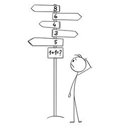 Cartoon man standing on crossroad solving 1 vector