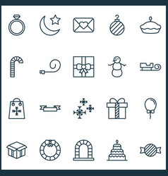 Christmas icons set collection of flan dessert vector
