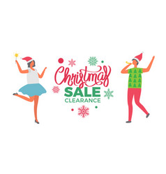 Christmas sale clearance poster woman santa claus vector
