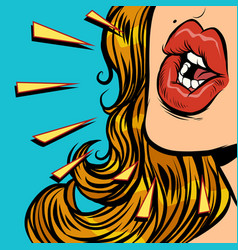close-up mouth woman talk vector image