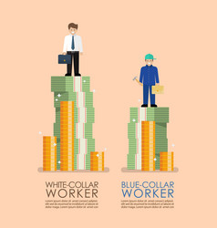 Comparison income between white and blue collar vector