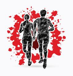 Couple running together marathon runner vector