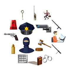 Criminal symbols icons set cartoon style vector