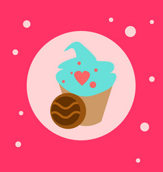 cupcake with heart shapes decoration icon on pink vector image