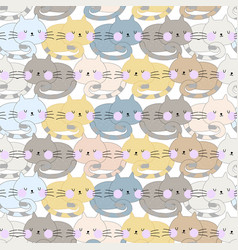 cute cat sleep seamless pattern vector image