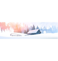day in winter forest country house over fir woods vector image