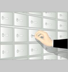 Deposit boxand hand vector