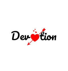 Devotion word text typography design logo icon vector