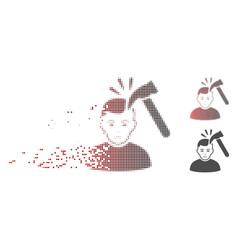 Dissolving pixel halftone hammer murder icon vector
