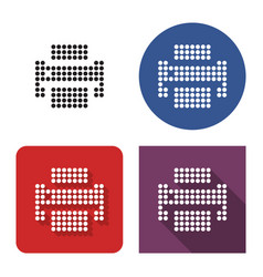 dotted icon printer in four variants with vector image