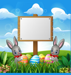 easter bunnies with eggs and blank sign on the fie vector image