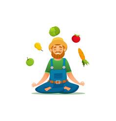 farmer in yoga pose vector image