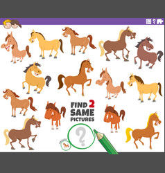 Find two same horses educational game for children vector