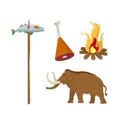 Fish caught on wooden stick meat on animal leg vector