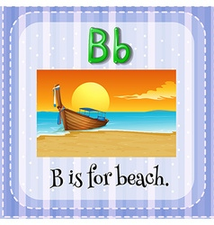 Flashcard of B is for beach vector