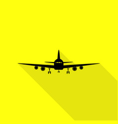 Flying plane sign front view black icon with vector