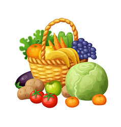 Fruits and vegetables in the basket vector