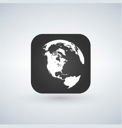 globe icon over black app button with shadow vector image