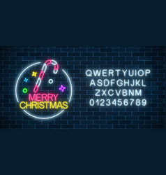glowing neon christmas sign with christmas candy vector image