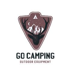 go camping logo template retro mountain adventure vector image