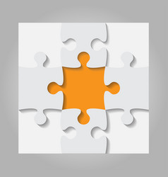 Grey orange puzzles pieces - jigsaw vector