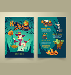 Halloween invitation on list brochure with vector