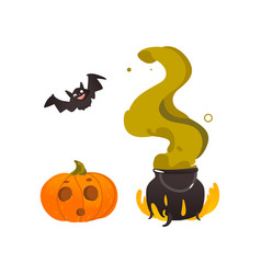 halloween pumpkin lantern bat and witch cauldron vector image