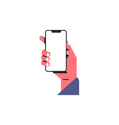 hand holding a telephone empty screen mobile app vector image