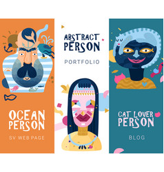 Human inner world banners vector