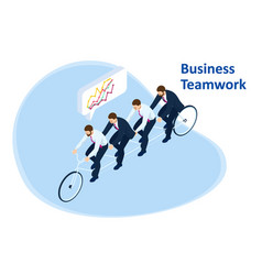 isometric goals setting for business team vector image
