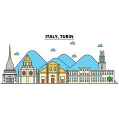 Italy turin city skyline architecture buildings vector