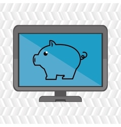 laptop with pig blue isolated icon design vector image