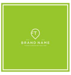 Letter ft pin logo design vector