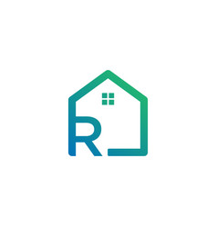 Letter r architect home construction creative vector