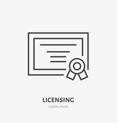 licensing flat line icon certificate sign patent vector image