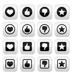 Like thumb up love favorite icons set vector image