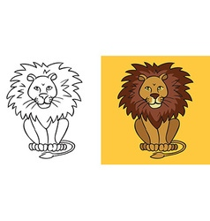 Lion on yellow background vector