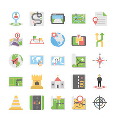 maps and navigation flat icons set 4 vector image