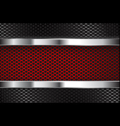 Metal perforated background with red banner vector