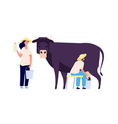 milk farm characters flat cow woman with bottle vector image