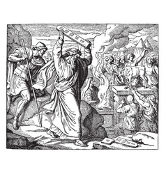Moses destroying the tables of the law vintage vector