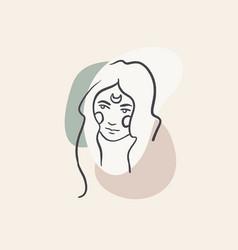 One line feminine logotype line art woman vector