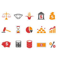 orange color investment icons set vector image