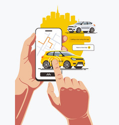 order taxi using smartphone application vector image