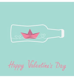 Origami paper boat and heart wave beer bottle vector