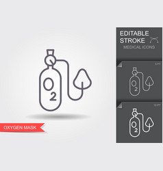 Oxygen mask linear medical symbols with editable vector