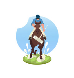 players playing polo on green field vector image