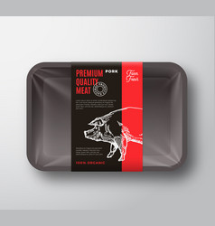 Premium quality pork meat package and label stripe vector