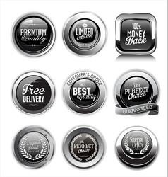 premium quality silver labels vector image